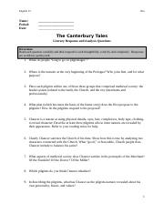 canterbury tales study guide questions and answers